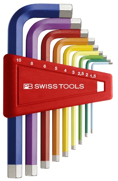 These hex keys wouldn't get lost in your bag trying to perform a late night bike fix.  Color coded by size, they are $30 from SwissTools, which boasts some other great - and seemingly quality - hand tools.    Apartment Therapy San Francisco | Swiss Tools Wrench Set