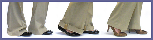 I think these would be a great idea for my *new* commute.  They are magnet strips that hold your pant hem up until you get to the office and change shoes.  Although $27 for a set of four (2 per leg) seems a bit pricey, its probably cheaper than stained/ruined pants.    zakkerz.com