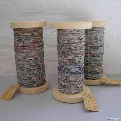 "Instructions on how to spin old newspapers into yarn - it actually looks pretty easy, though time consuming. Great website, ""you'll find eco-friendly products & ideas to help you live a more sustainable life"" Handspun Recycled Newspaper Yarn 