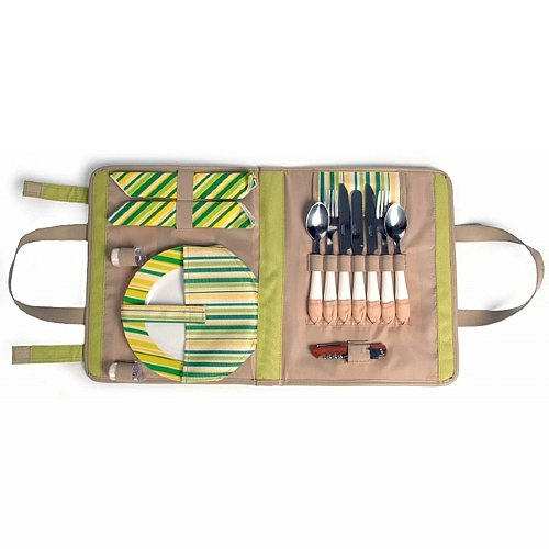 This clever wrap of picnic dishes is a much better idea than the traditional bulky basket.  However, $50 is a ridiculous price for such an easily crafted piece.  You could even just use two placemats sewn together for the same general idea. Springtime Wrap for 2 - Picnic Fun
