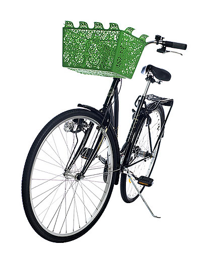 And this continues to be one of my favorite bicycle accessories I don't own.  CB2 had it when I worked at Crate, but only in white, so I never bought it once I knew there was a green.  $60 is a lot, but it will look great on the cruiser I plan to own someday.    PLASTICA: Carrie Bicycle Basket