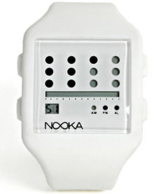 This watch has been out for awhile, but I still like its clean lines and modern technology aesthetic. Seems as likely in an office setting as in a club.    Nooka Zub Zot Watch | Uncrate