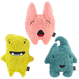These travel pillows mimic Ugly Dolls, but filled with buckwheat hulls, which would make them microwavable.  Now, if only Ugly Dolls would come out with a buckwheat filled variety, we'd be all set. (Container Store sells theirs for $15 - currently in their travel sale.)   The Container Store > Comfort Creature Travel Buddy Pillow