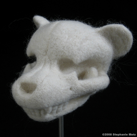 Stephanie Metz felts teddy bear skulls, in addition to other animals and various exquisite pieces. Amazing art.    via Boing Boing