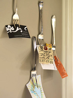 Unusual ideas - especially this fork note holder.    Use Kitchen Items to Unclutter Your Desk » Curbly | DIY Design Community
