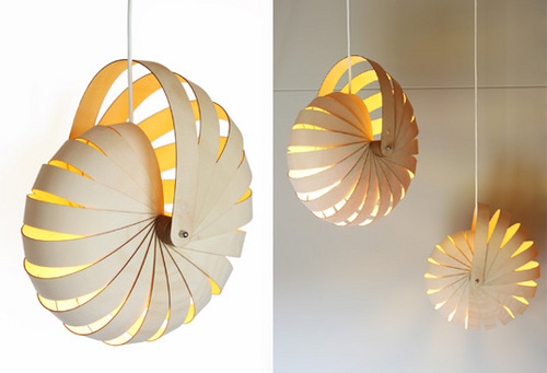 Ingenious flat-pack idea, could be easily reconstructed with strips of any material - newspaper, cardboard, plastic boxing strips, etc.    NAUTILUS Eco-Friendly Flat-Pack Hanging Lamp via Inhabitat