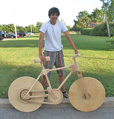 Props to this 16-year old for building a  fully-functioning wooden bicycle.