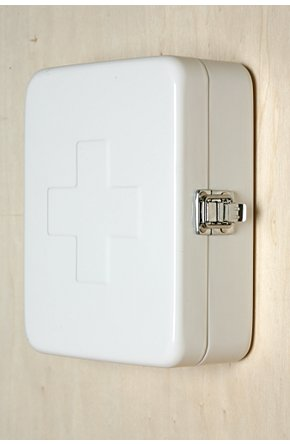 Great first aid box from Urban.  Wall mountable, so really you could use it for anything - keys and mail perhaps?
