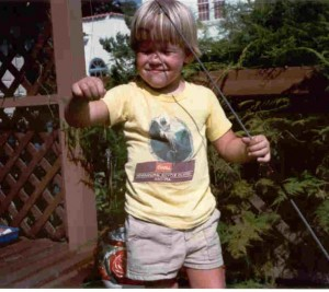 Showing of the fish I caught as a child off the back of our dock.