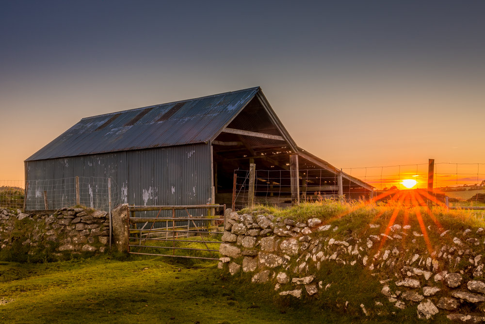 Old barn at sunset on Bodmin Moor