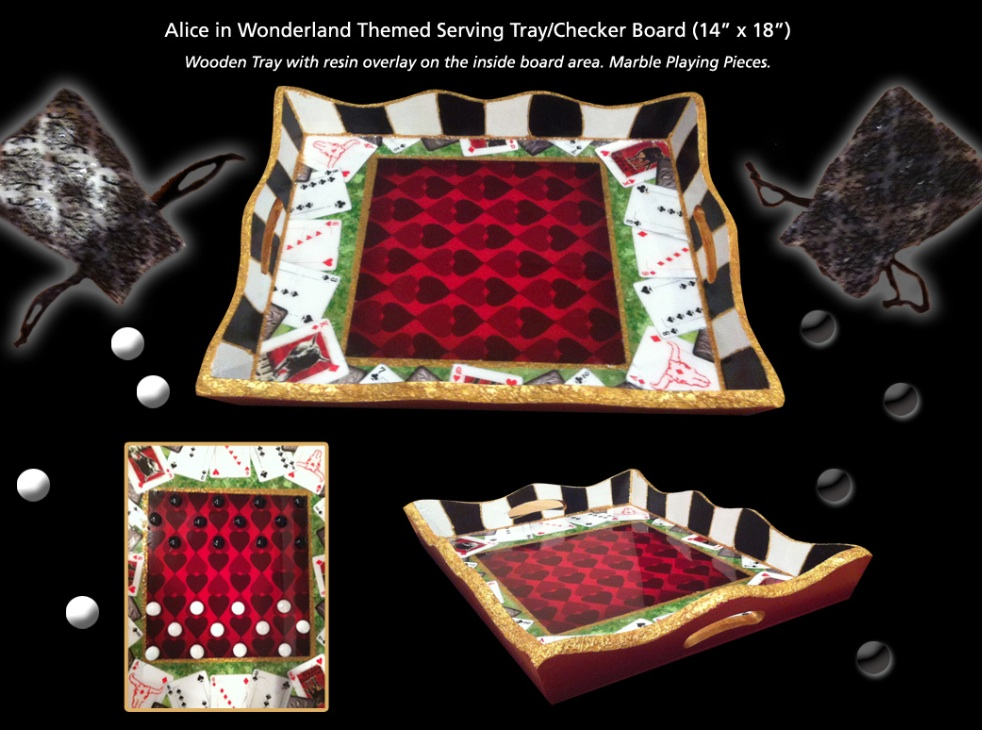 Abbot Designs, Alice In Wonderland Tea Tray is a beautiful hand crafted original design for $80. The artist is a Connecticut Artist, her work is superb and the tray is one of a kind. It also is a game tray for checkers!