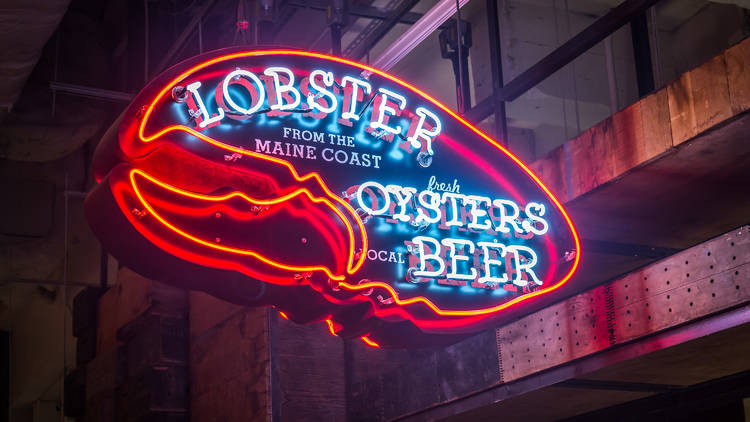 Lobster Oysters Beer Neon sign - Vanderbilt location