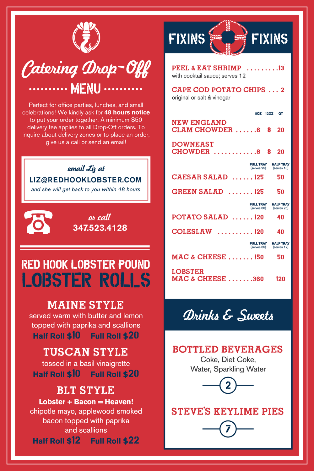 Catering Drop-Off Menu: Lobster Rolls, Fixins, Drinks and Sweets