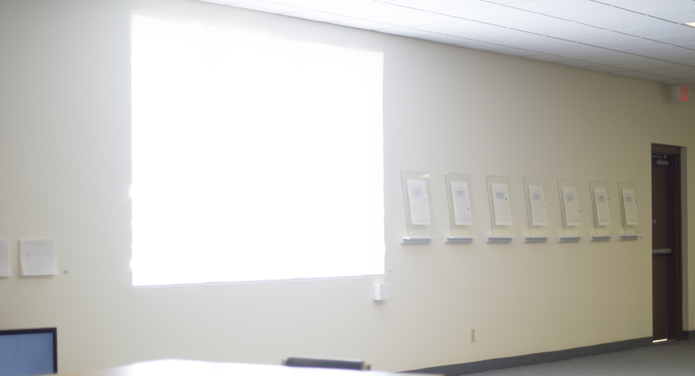 Installation view. From left to right the  somewhere series, Drawing Horizon, seeing while looking,  and  the weight of insignificance.