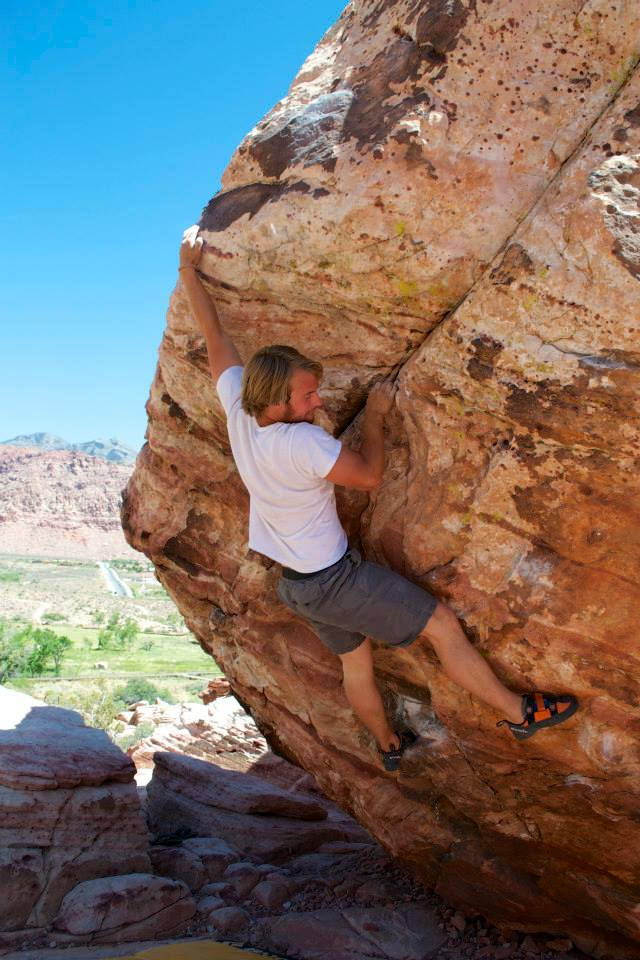 Jarrad Moore climbing at Red Rocks, Nevada (2013)