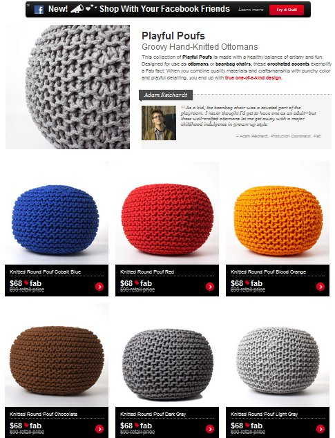 handknit pouf on Fab.com today