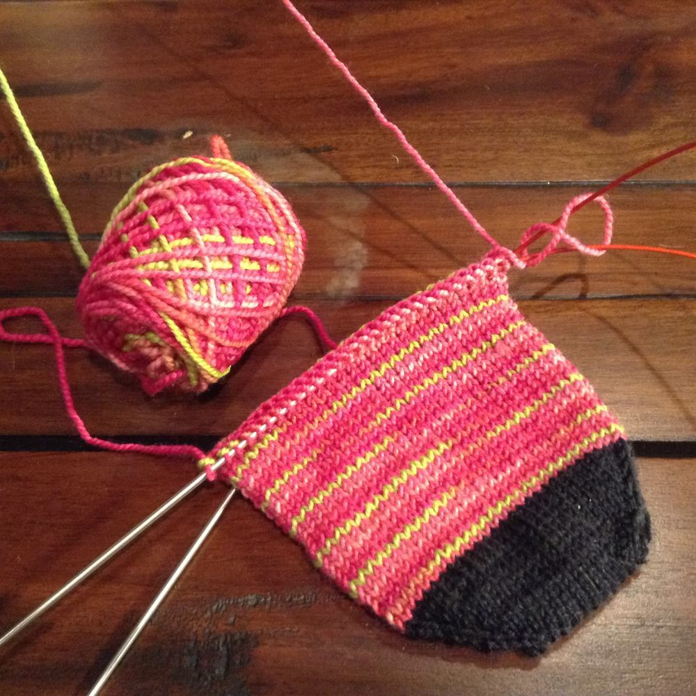 WIP: My Christmas socks, out of Shibui Sock and Cascade Heritage black leftover.