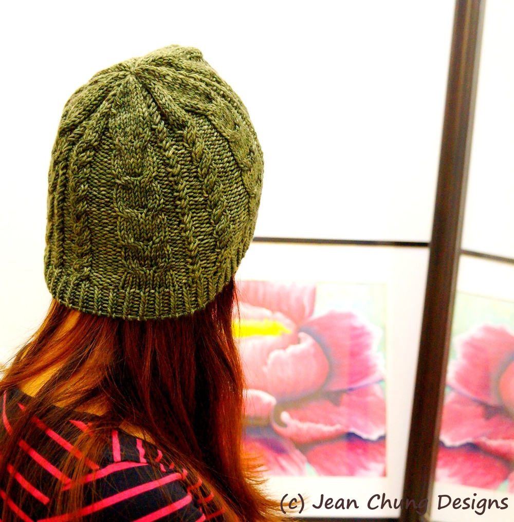 "Bagel's Rainy Day Hat, in Anzula Handdyed Yarns For Better or Worsted in ""Keola"" colorway."