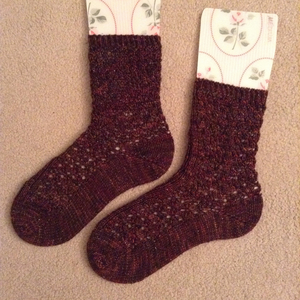 "Lady Sybil Socks in Zen Serenity 20 Glitter Sock in ""Sea Slug"""