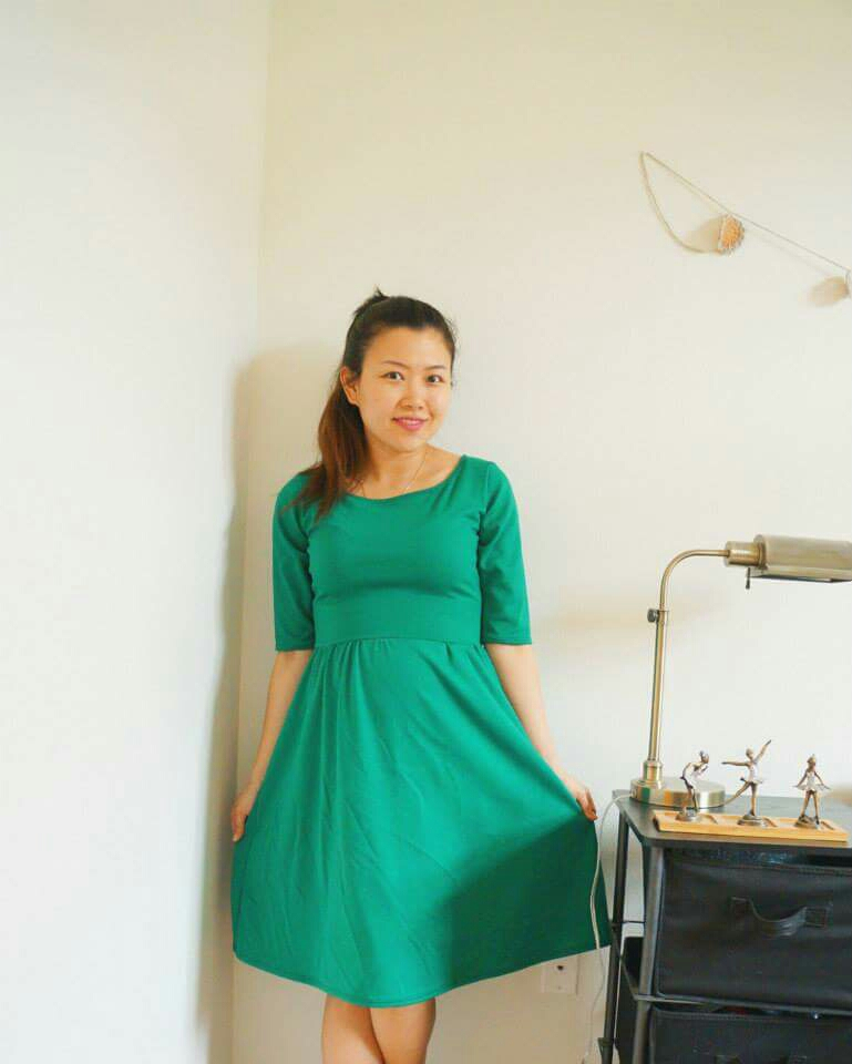 Moneta Dress in green double knit. | Handmade Fashion at CandyandBagel.com