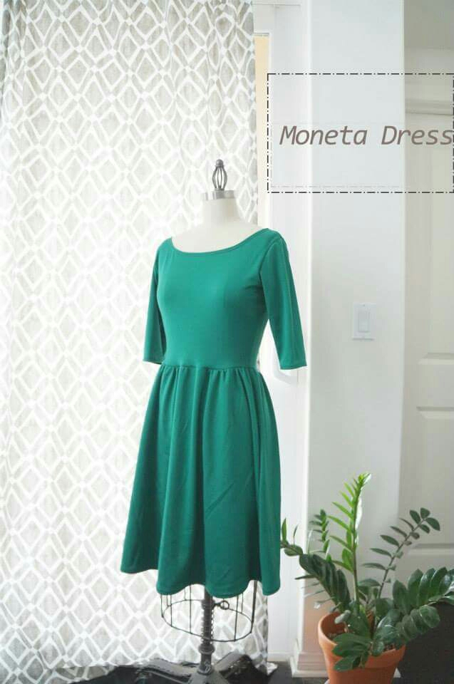 Colette Patterns Moneta Dress in Green Double Knit fabric. www.candyandbagel.com