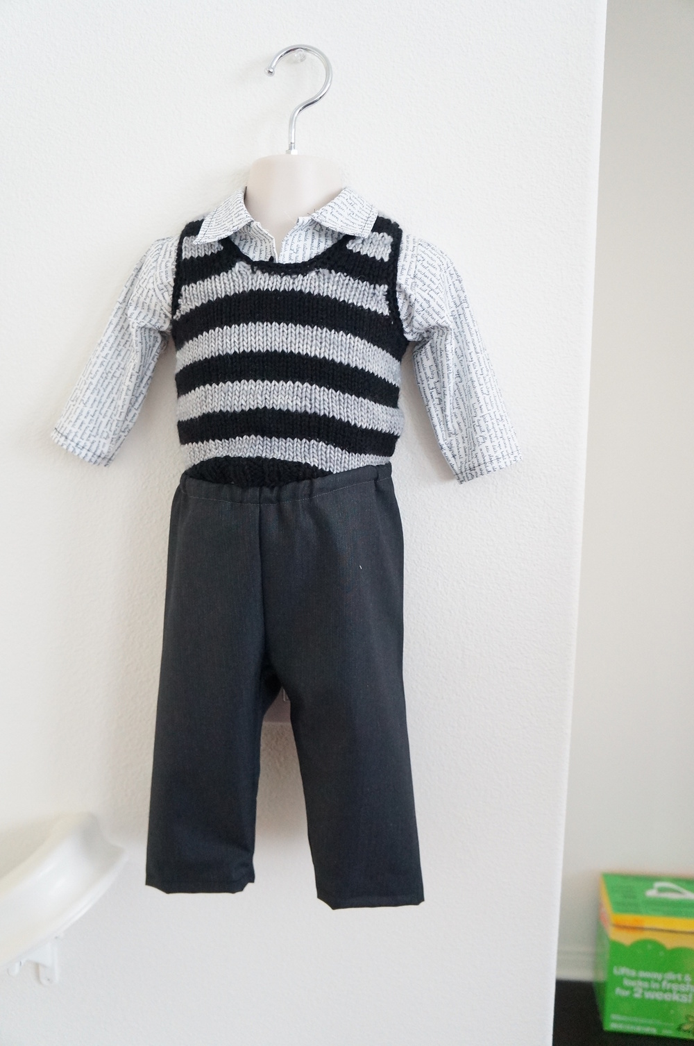 My version for Logan - knitted vest, sewn shirt and pants | Handmade Fashion at Candy & Bagel