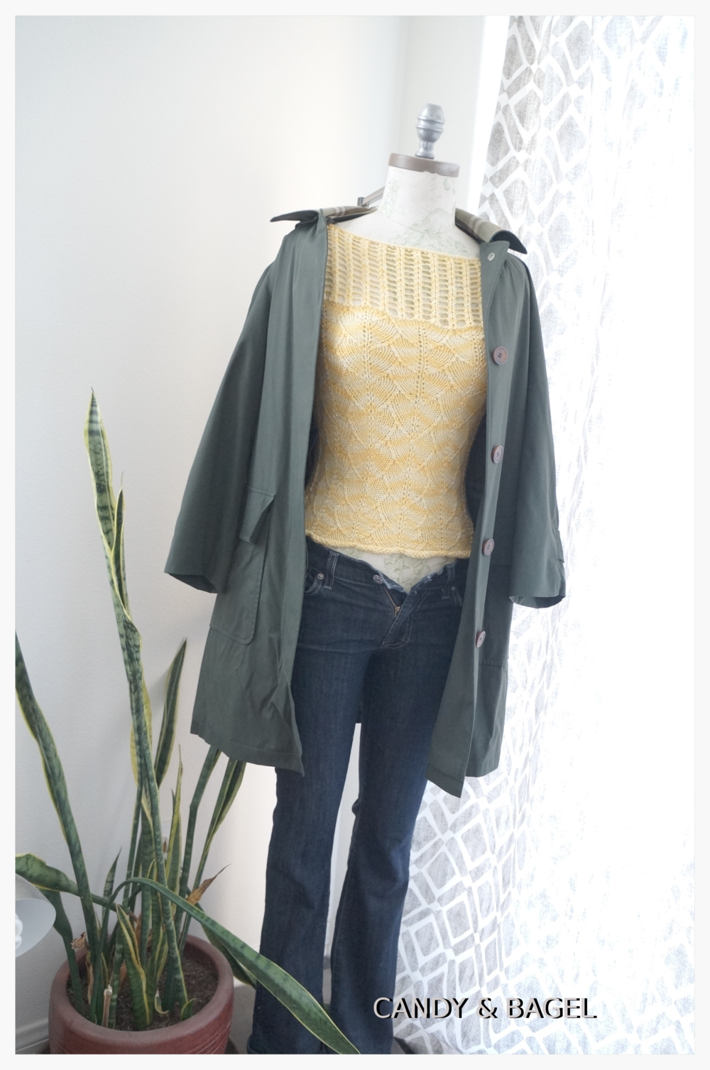 "Lightweight sweaters for fall. Tee: Handknit, ""Sweet Lil' Tee"" pattern; Coat: Burberry; Jeans: AG Jeans Bootcut."
