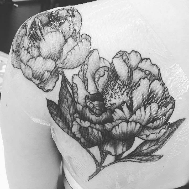 Just a month after the first one.... Peonies tattoo by Sara Fabel (@sarafabel) in Los Angeles, CA
