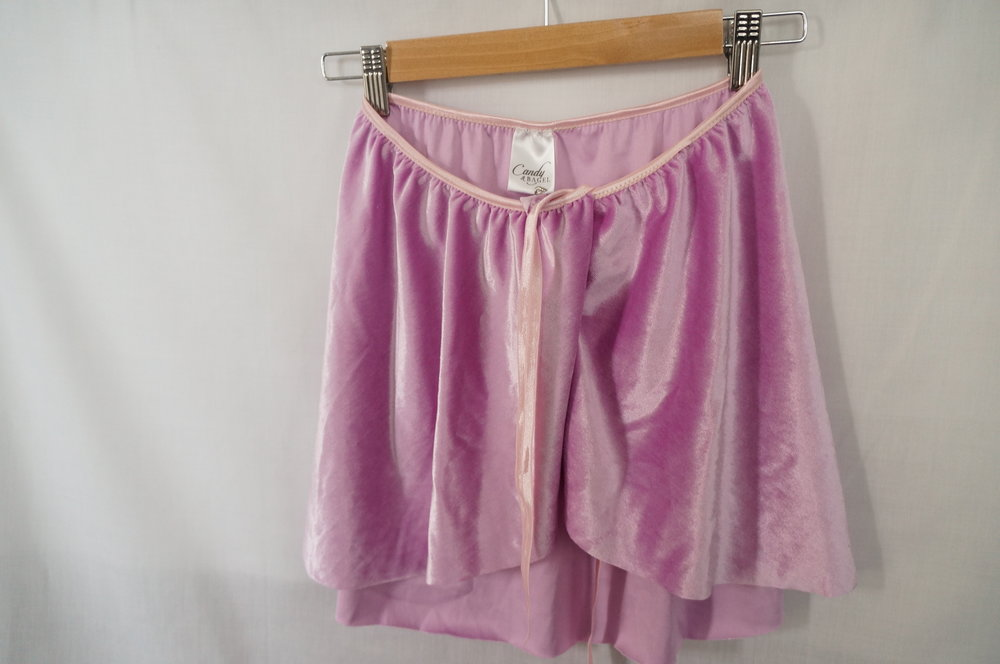 """Candy & Bagel """"Don't Look Down"""" in purple velour."""