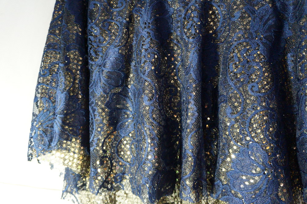 """Shine and be yourself! Candy & Bagel """"Radiance"""" skirt in Blue and Gold."""