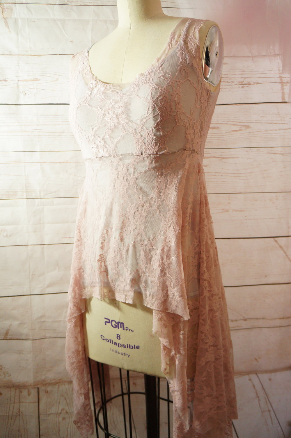 "Candy & Bagel ""Breathe"" Dress in Light Pink Lace"