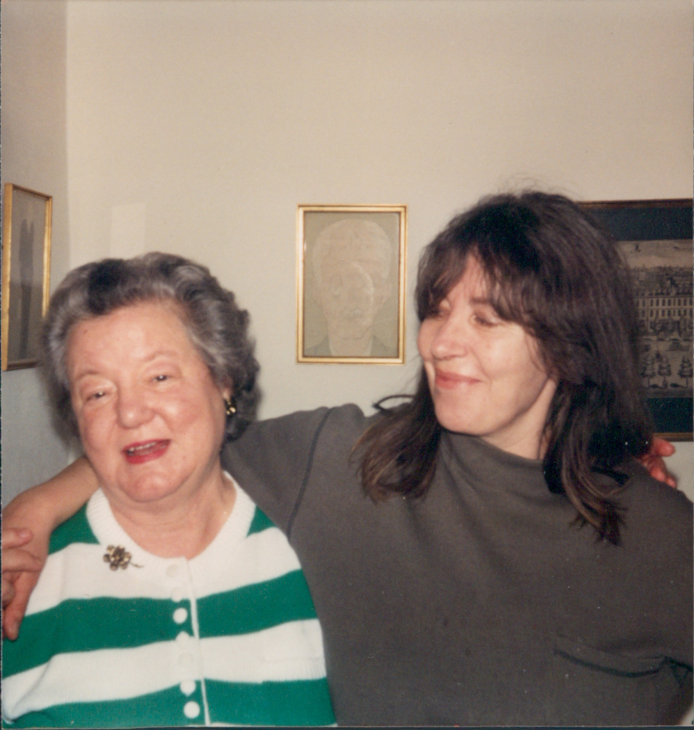 Ruth and Judy Froshaug discuss the finer points of Max Beerbohm lithographs, Leyton, 1991.