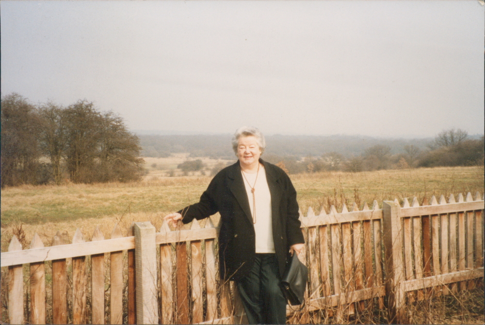 Ruth in one of her favorite places in the world (Suffolk), mid-1990s.