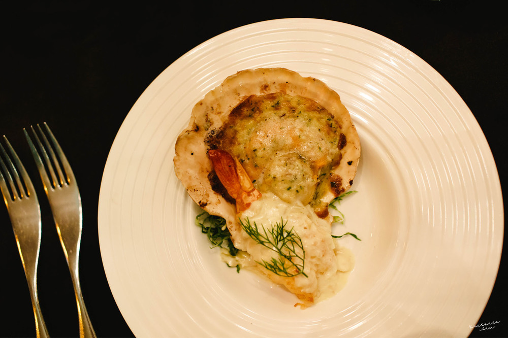 Roasted Sea Scallop and Tiger Prawn