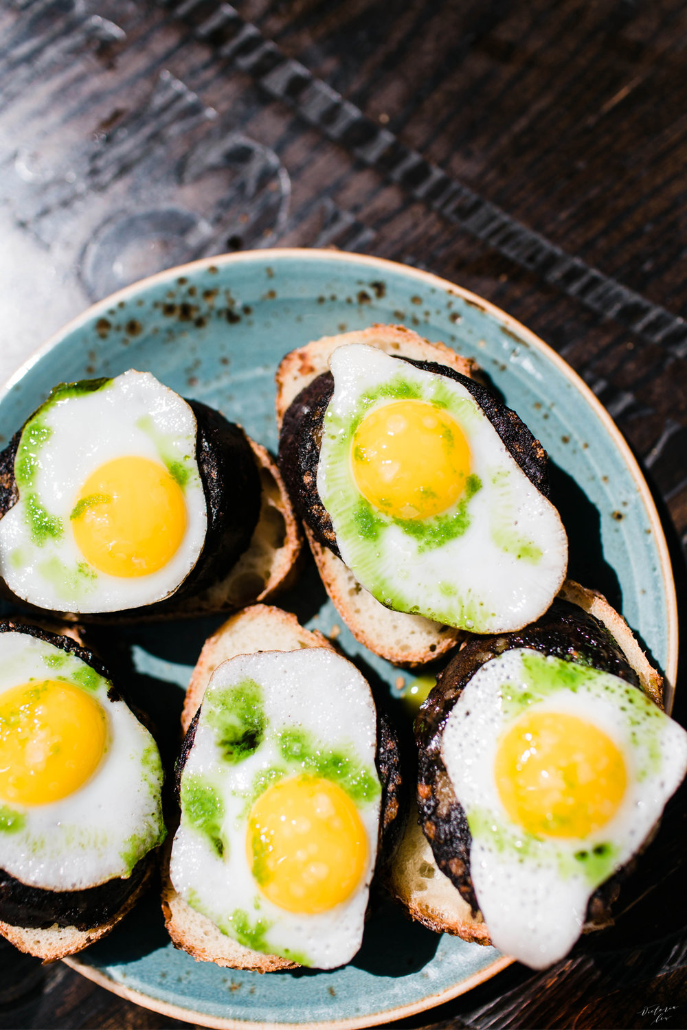 Morcilla & Egg: Bread topped with blood sausage and quail egg