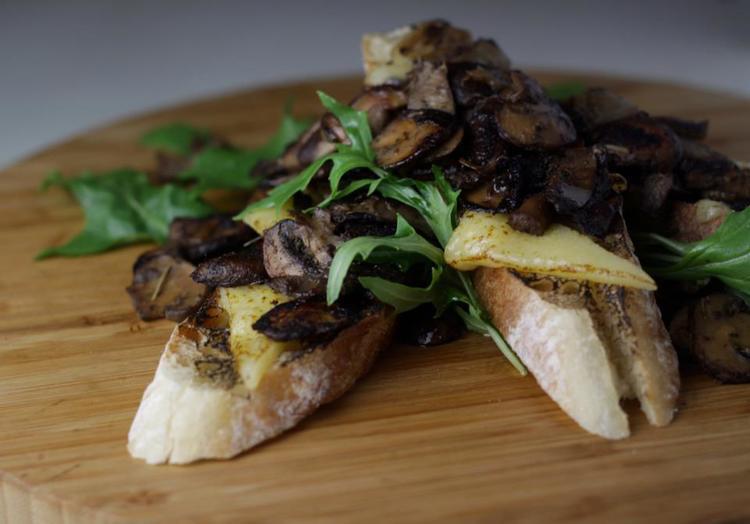 Miso mushroom crostini