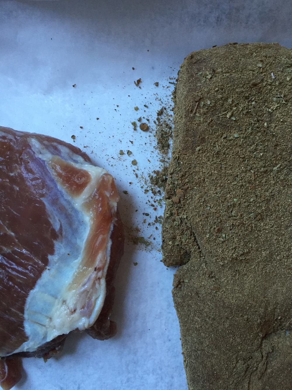 When we took it out of the fridge from the cure and dusted it with the rub before the smoker....