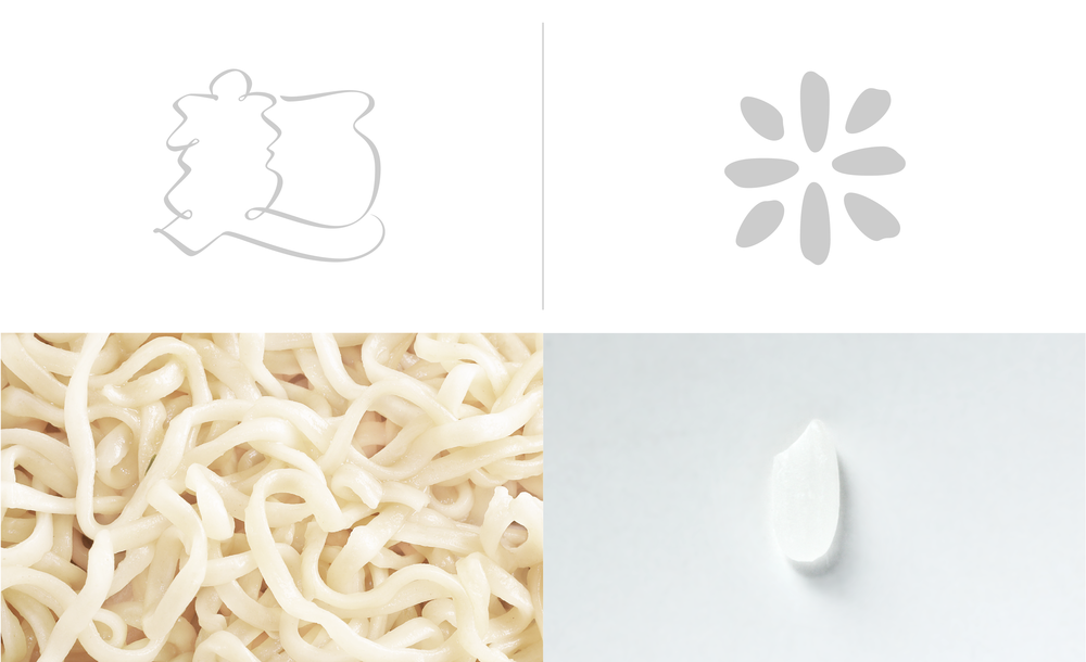 The meaning of the word is portrayed not only by the character but also the forms:a character is formed with a single noodle, the other composed of a rice like shapes.