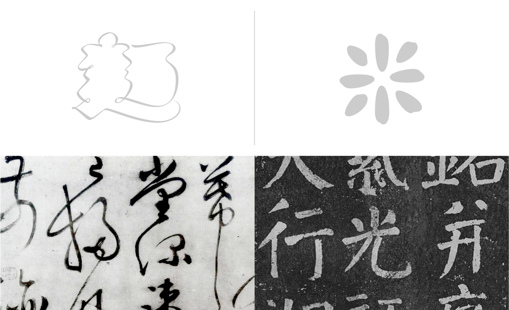 The noodle character is built based on Cursive calligraphy style(草書), while the rice formed base on Regular calligraphy style(楷書).