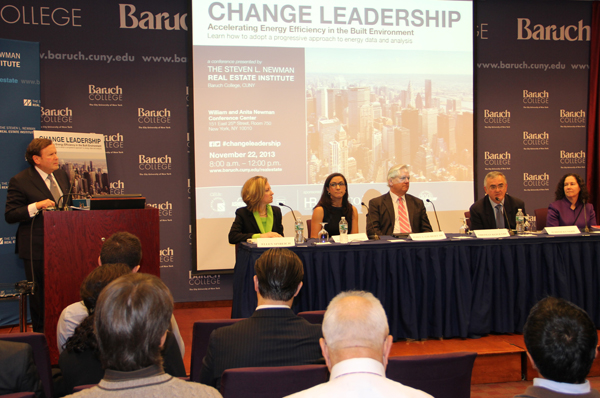 Ellen Sinreich moderating Change Leadership: Accelerating Energy Efficiency in the Built Environment panel, The Steven L. Newman Real Estate Institute, Baruch College, CUNY, photo courtesy of The Steven L. Newman Real Estate Institute, R.J. Harper, photographer