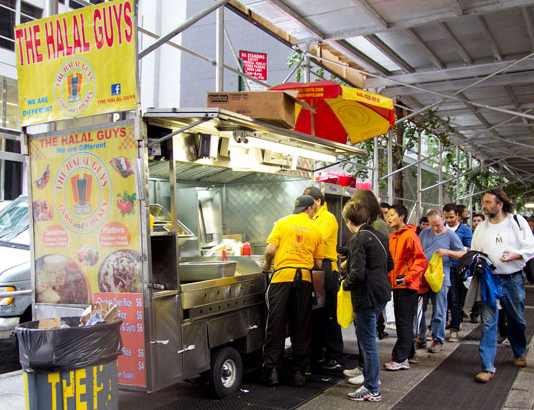 The Halal Guys cart at 53rd Street and 6th Avenue, NYC