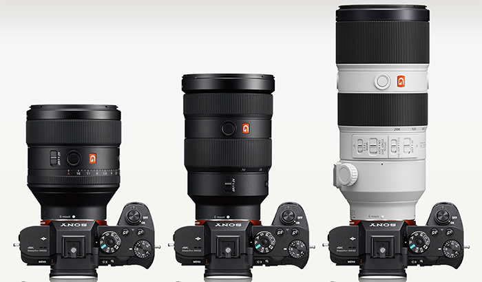 New G Master lenses on Sony A7R ii. Photo courtesy of http://camerasize.com/