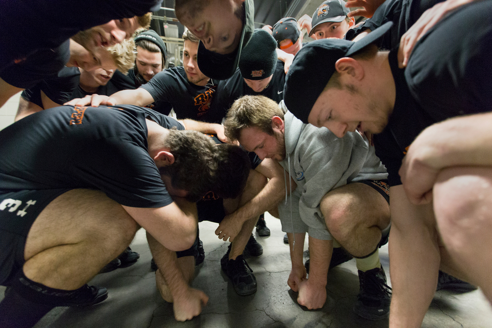 Rochester Institute of Technology men's hockey team have a pre-game pep talk before an Atlantic Hockey Conference championship hockey game against Mercyhurst University at Blue Cross Arena on March 21, 2015 in Rochester, N.Y.
