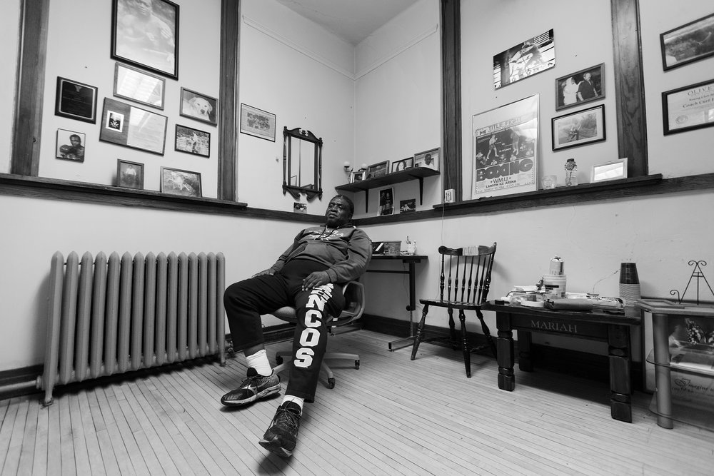 Curtis Isaac sits in his office after boxing practice at Eastside Boxing Club in Kalamazoo, Mich. on May 17, 2016. (Bryan Bennett | MLive.com)