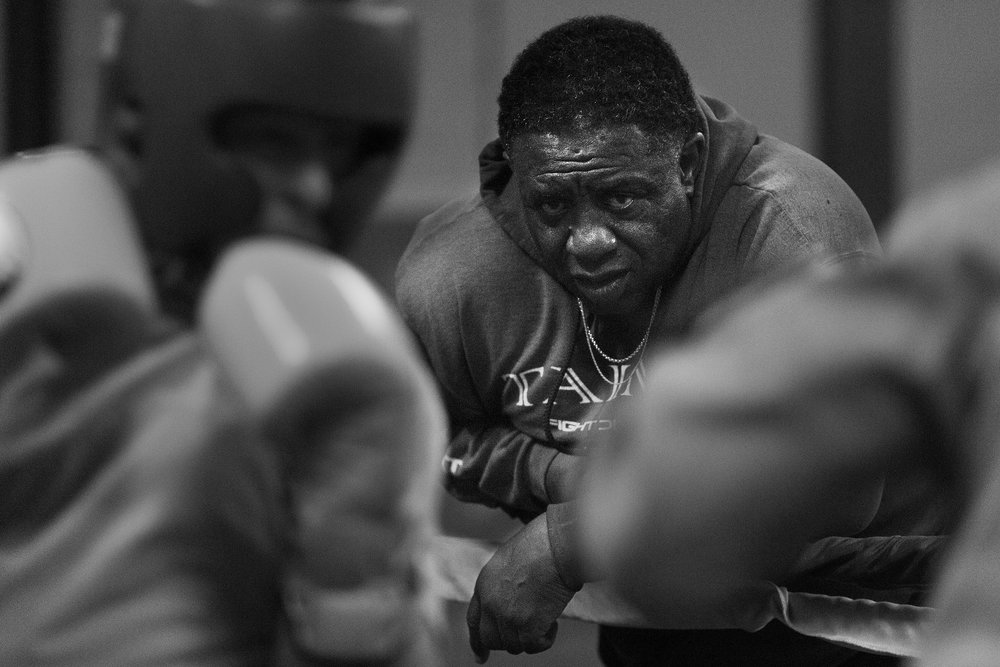 Curtis Isaac watches as boxers spar at Eastside Boxing Club in Kalamazoo, Mich. on May 17, 2016. (Bryan Bennett | MLive.com)