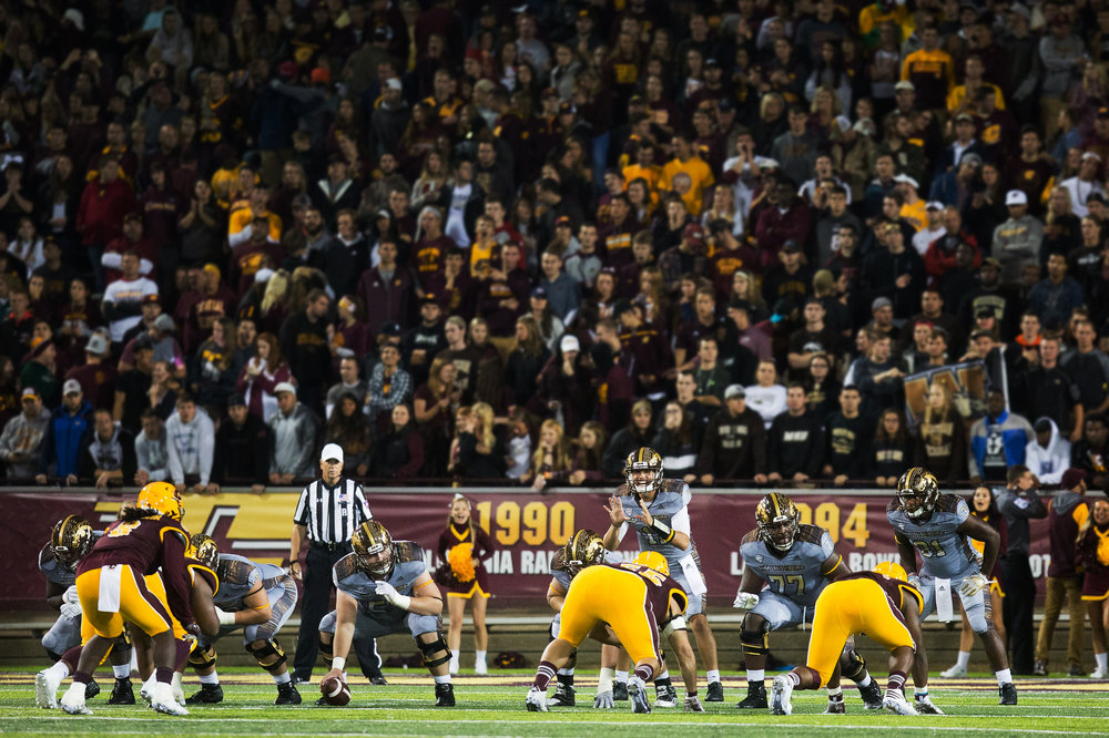 The Central Michigan Chippewas host the Western Michigan Broncos in a the battle for the Victory Cannon at Kelly/Shorts Stadium in Mt. Pleasant, Mich. on Saturday, Oct. 1, 2016. WMU enters the game with a record of 4-0 as CMU enters with a record of 3-1. (Bryan Bennett | MLive.com)