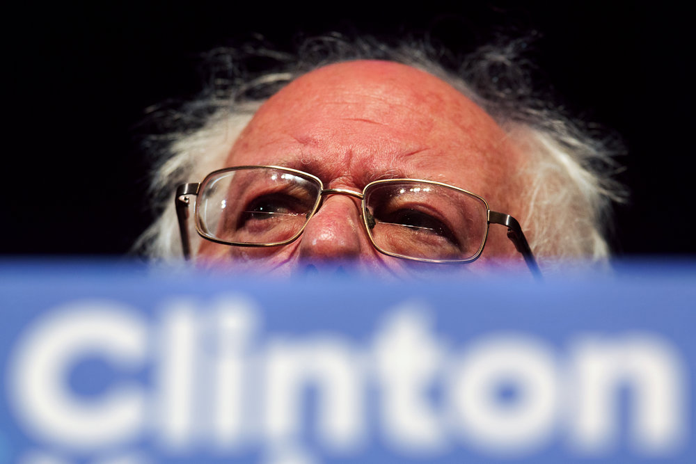 Sen. Bernie Sanders, I-Vt., speaks while campaigning for Democratic presidential candidate Hillary Clinton at Miller Auditorium on Western Michigan University's campus in Kalamazoo, Wednesday, Nov. 2, 2016. (Bryan Bennett | MLive.com)