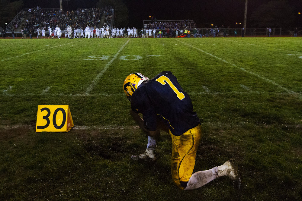 Portage Central's Theo Kizer (7) takes a knee during the fourth quarter of the MHSAA district 4 final against Forest Hills Central at McCamley Field in Portage, Mich., Friday, Nov. 4, 2016. Forest Hills defeated Portage Central 27-13. (Bryan Bennett | MLive.com)