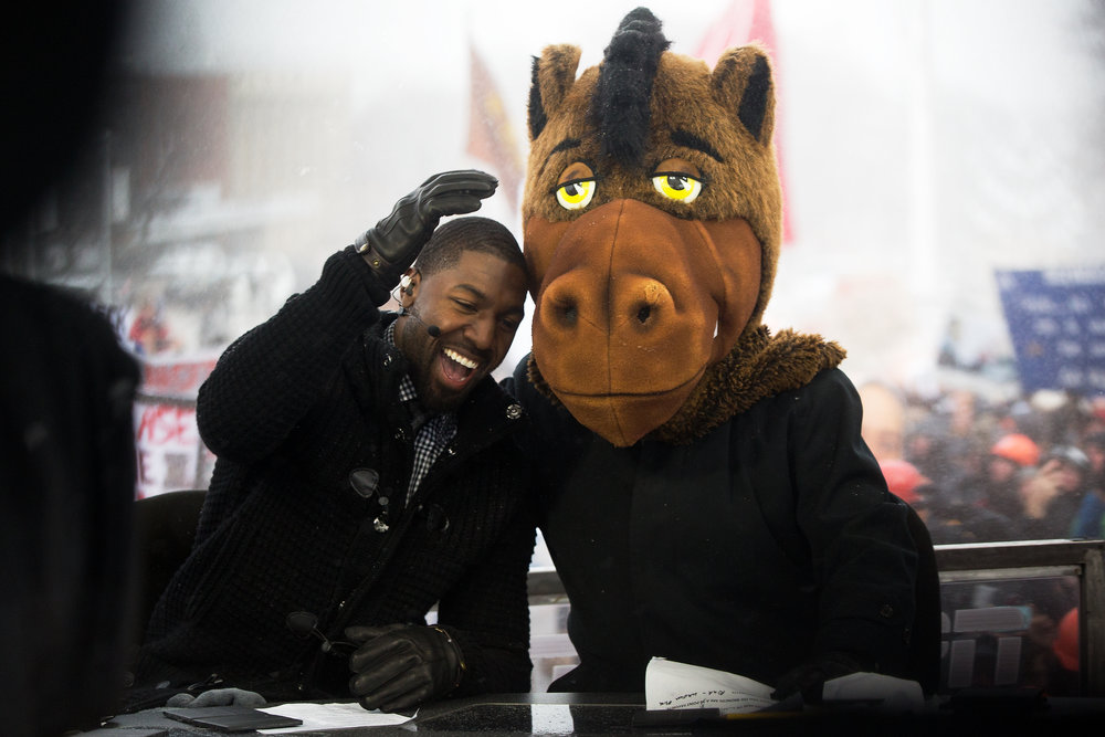 "Kalamazoo native Gregg Jennings, left, and Lee Corso both select Western Michigan to defeat Buffalo in a NCAA college football game on ESPN's ""College GameDay"" in Kalamazoo, Mich., Saturday, Nov. 19, 2016. (Bryan Bennett 