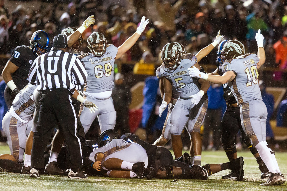 Western Michigan recorded its second shutout of the season Saturday. The Broncos aren't just winning games, they're blowing teams out. Through 11 games, they have outscored their opponents 482 to 195, an average of about 44-18 per game.  (Bryan Bennett | MLive.com)